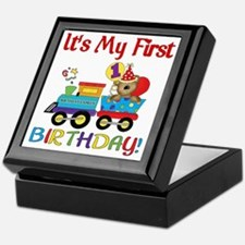 first birthday train Keepsake Box