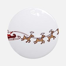 Santa in his Sleigh Ornament (Round)