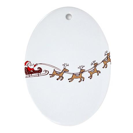Santa in his Sleigh Ornament (Oval)