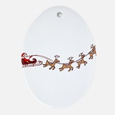 Santa in his Sleigh Ornament (Oval)
