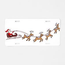 Santa in his Sleigh Aluminum License Plate