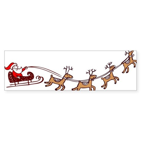 Santa in his Sleigh Bumper Sticker