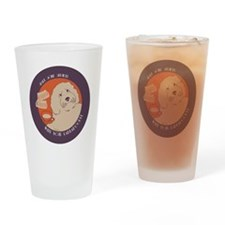 Labradoodle CIRCLE bleed Drinking Glass