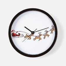 Santa in his Sleigh Wall Clock