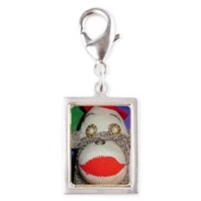Sock monkey with pearl gold  Silver Portrait Charm
