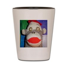 Sock monkey with pearl gold eyes. Shot Glass