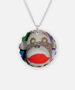 Sock monkey with pearl gold  Necklace