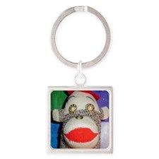 Sock monkey with pearl gold eyes. Square Keychain