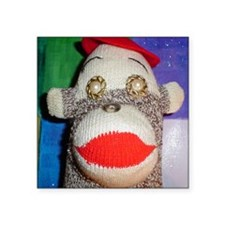"""Sock monkey with pearl gold Square Sticker 3"""" x 3"""""""