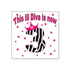 "lil diva three Square Sticker 3"" x 3"""