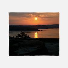 sunrise over Norfork Lake Throw Blanket