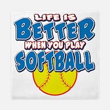 LIFE IS BETTER softball Queen Duvet