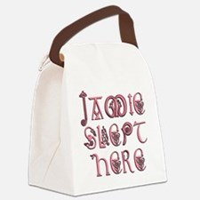 Jamie_slept_here2 Canvas Lunch Bag