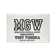 AIRPORT CODES - MGW - MORGANTOWN, Rectangle Magnet