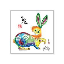 "Rabbit Final_5_chop Square Sticker 3"" x 3"""