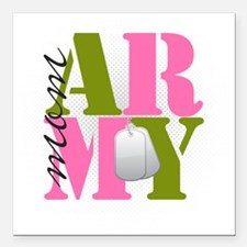 "armymom Square Car Magnet 3"" x 3"""
