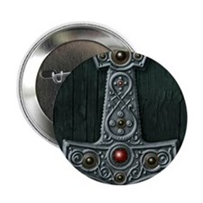 "Thors Hammer X Silver 2.25"" Button"