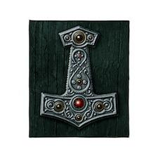 Thors Hammer X Silver Throw Blanket