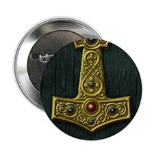 "Thors Hammer X Gold- Viking Blood 2.25"" Button"