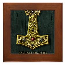 Thors Hammer X Gold- Viking Blood Framed Tile