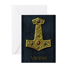 Thors Hammer X - Gold- Viking Greeting Card