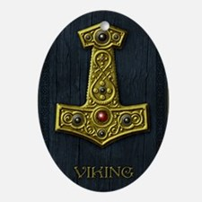 Thors Hammer X - Gold- Viking Oval Ornament