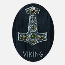Thors Hammer X Silver - Viking Oval Ornament