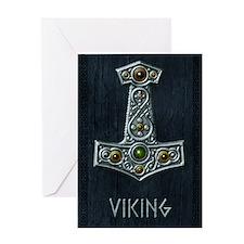 Thors Hammer X Silver - Viking Greeting Card