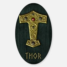 Thors Hammer UP Gold THOR Sticker (Oval)