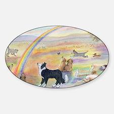 waiting at the rainbow bridge - dog Sticker (Oval)