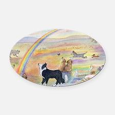 waiting at the rainbow bridge - do Oval Car Magnet