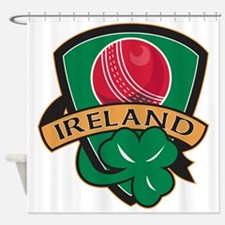 cricket ball shamrock Ireland shiel Shower Curtain