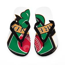cricket ball shamrock Ireland shield Flip Flops