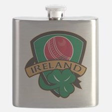 cricket ball shamrock Ireland shield Flask