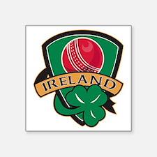 "cricket ball shamrock Irela Square Sticker 3"" x 3"""