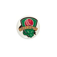 cricket ball shamrock Ireland shield Mini Button