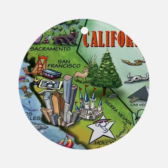 California Map Blanket Round Ornament