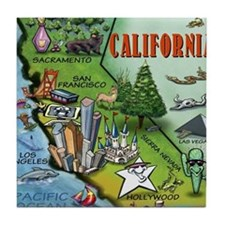 California Map Blanket Tile Coaster