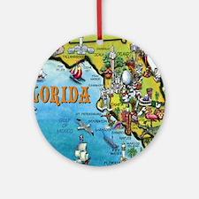 FloridaMap Blanket Round Ornament