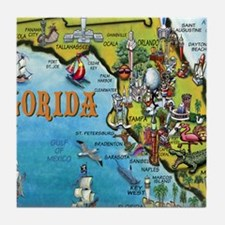 FloridaMap Blanket Tile Coaster
