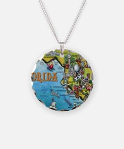 FloridaMap Blanket Necklace Circle Charm