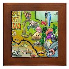 Corpus Christi TEXAS Map Blanket Framed Tile