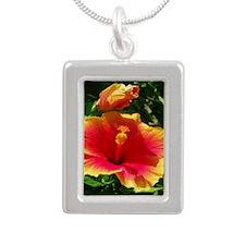 Florida Flower Silver Portrait Necklace