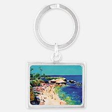 La Jolla Cove painting by RD Ri Landscape Keychain