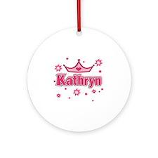 Kathryn Princess Crown Star Round Ornament