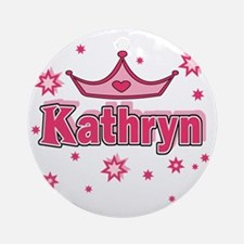 Kathryn Princess Crown Star Round Ornament