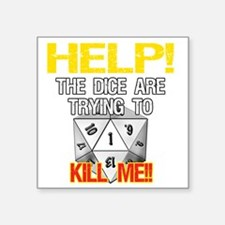 "d20Help Square Sticker 3"" x 3"""
