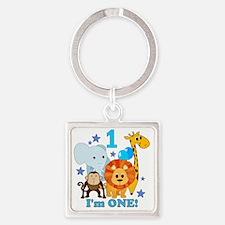 baby1JungleAnimals Square Keychain