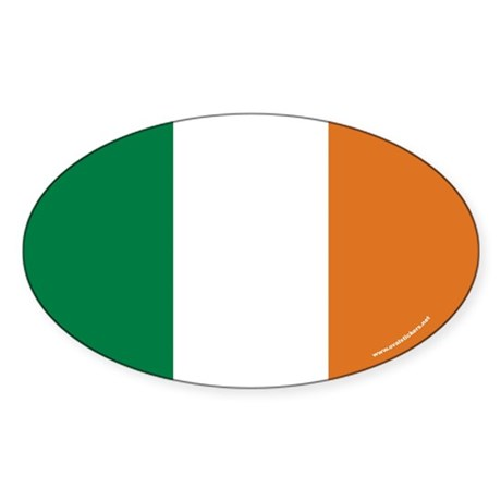 Irish Flag Euro Oval Sticker