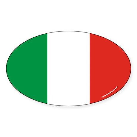 Italy Flag Euro Oval Sticker